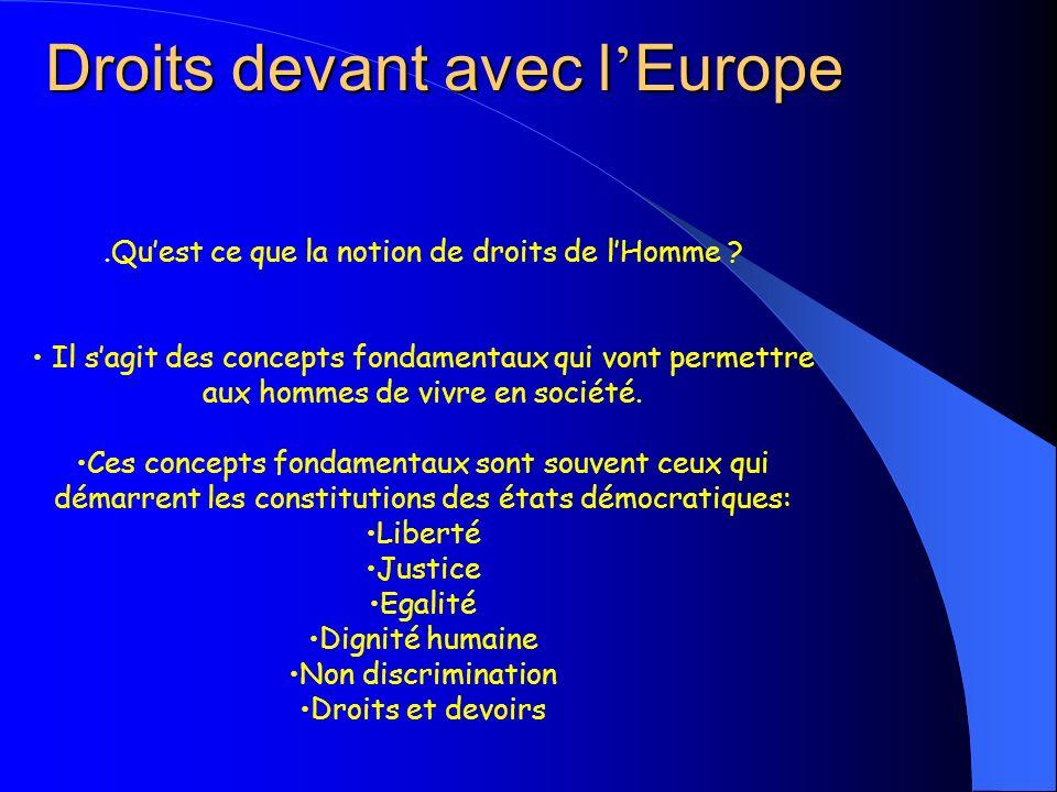Droits devant avec l Europe.Quest ce que la notion de droits de lHomme ? Il sagit des concepts fondamentaux qui vont permettre aux hommes de vivre en
