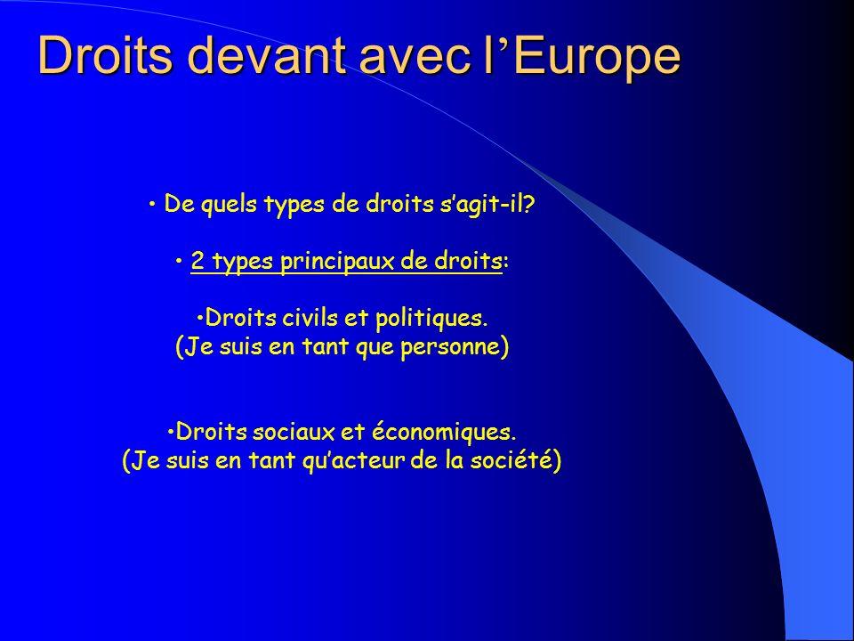 Droits devant avec l Europe De quels types de droits sagit-il? 2 types principaux de droits: Droits civils et politiques. (Je suis en tant que personn