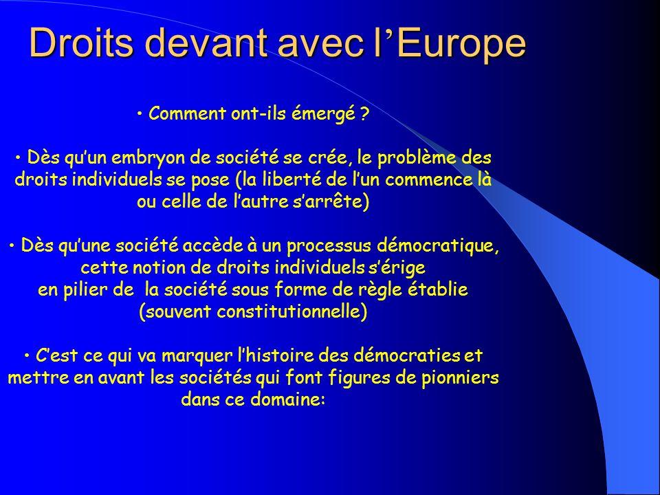Droits devant avec l Europe Comment ont-ils émergé ? Dès quun embryon de société se crée, le problème des droits individuels se pose (la liberté de lu