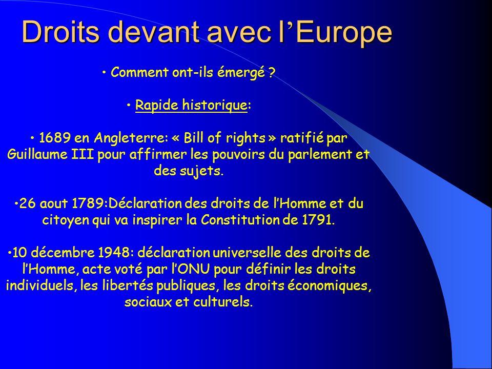 Droits devant avec l Europe Comment ont-ils émergé ? Rapide historique: 1689 en Angleterre: « Bill of rights » ratifié par Guillaume III pour affirmer