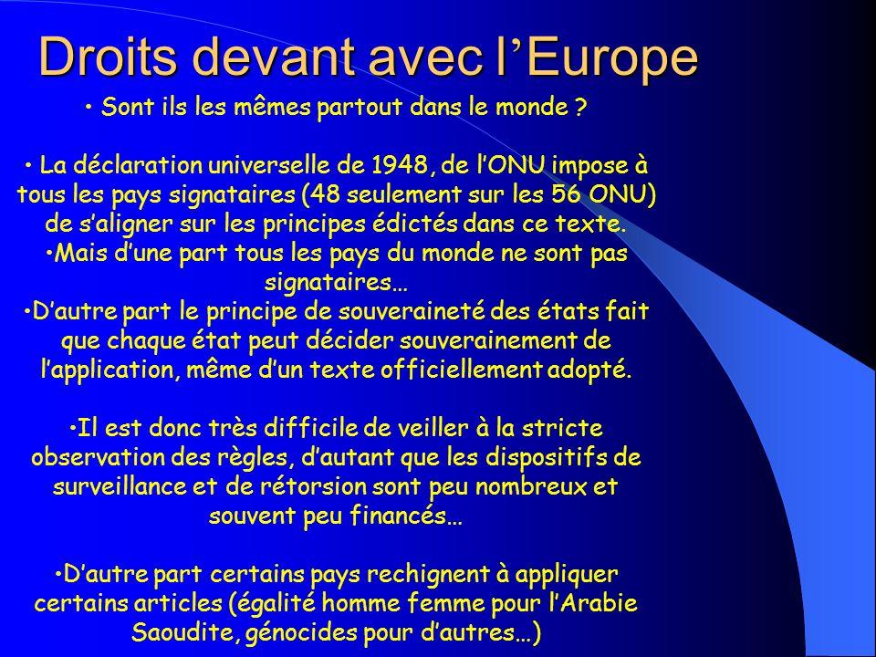 Droits devant avec l Europe Sont ils les mêmes partout dans le monde ? La déclaration universelle de 1948, de lONU impose à tous les pays signataires