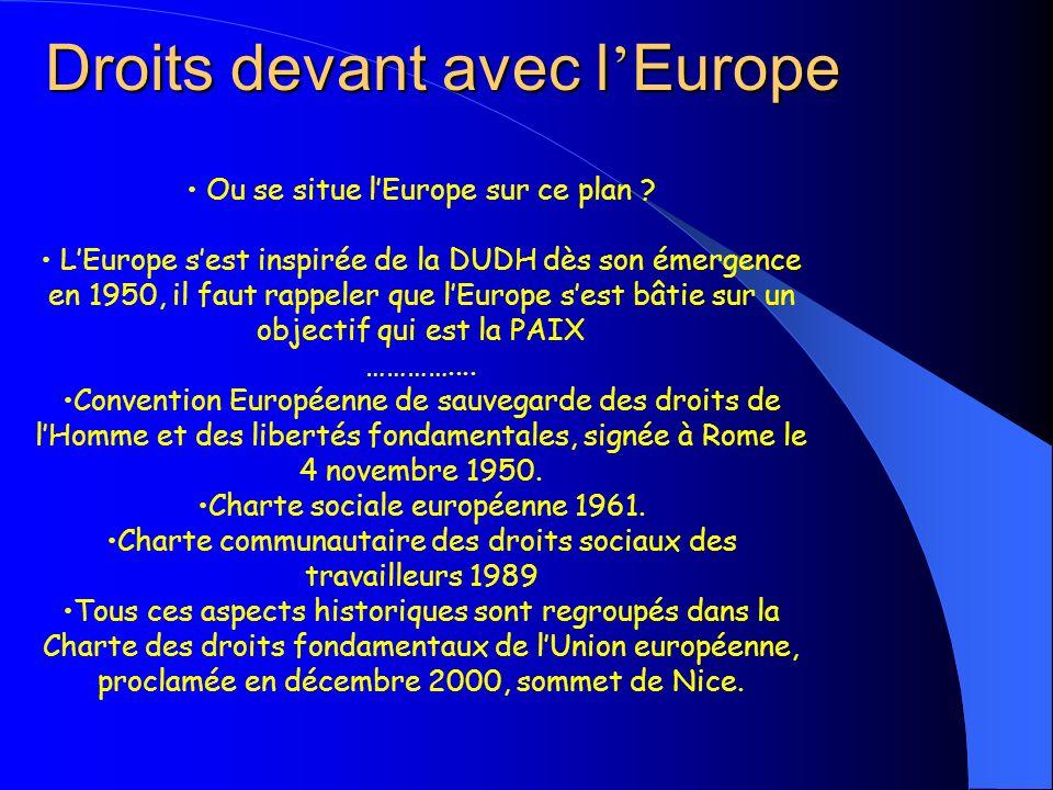 Droits devant avec l Europe Ou se situe lEurope sur ce plan ? LEurope sest inspirée de la DUDH dès son émergence en 1950, il faut rappeler que lEurope