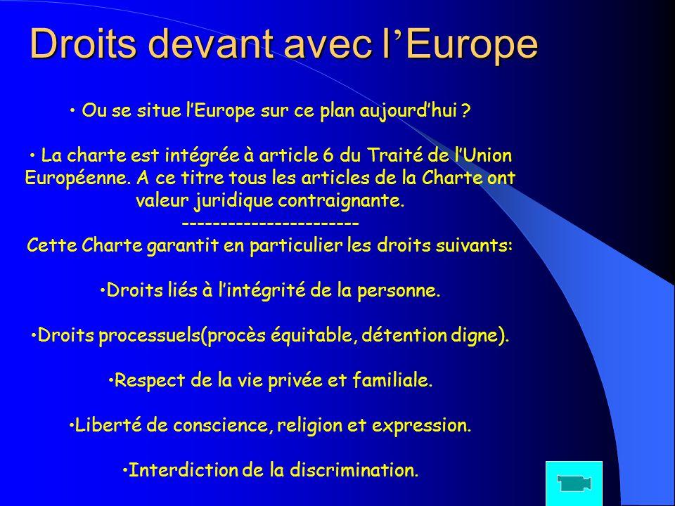 Droits devant avec l Europe Ou se situe lEurope sur ce plan aujourdhui ? La charte est intégrée à article 6 du Traité de lUnion Européenne. A ce titre