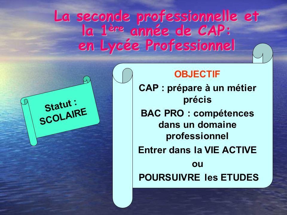 La seconde professionnelle et la 1 ère année de CAP: en Lycée Professionnel OBJECTIF CAP : prépare à un métier précis BAC PRO : compétences dans un do