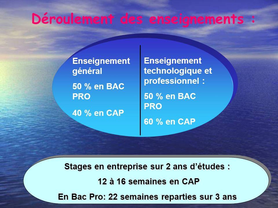 Déroulement des enseignements : Stages en entreprise sur 2 ans détudes : 12 à 16 semaines en CAP 12 à 16 semaines en CAP En Bac Pro: 22 semaines repar