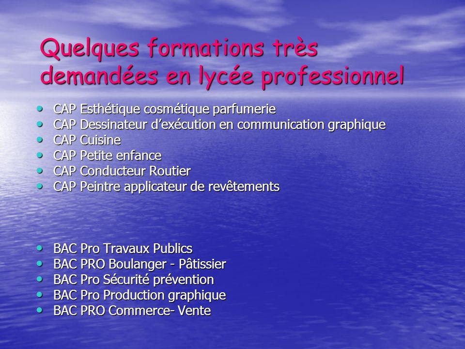 Quelques formations très demandées en lycée professionnel CAP Esthétique cosmétique parfumerie CAP Esthétique cosmétique parfumerie CAP Dessinateur de