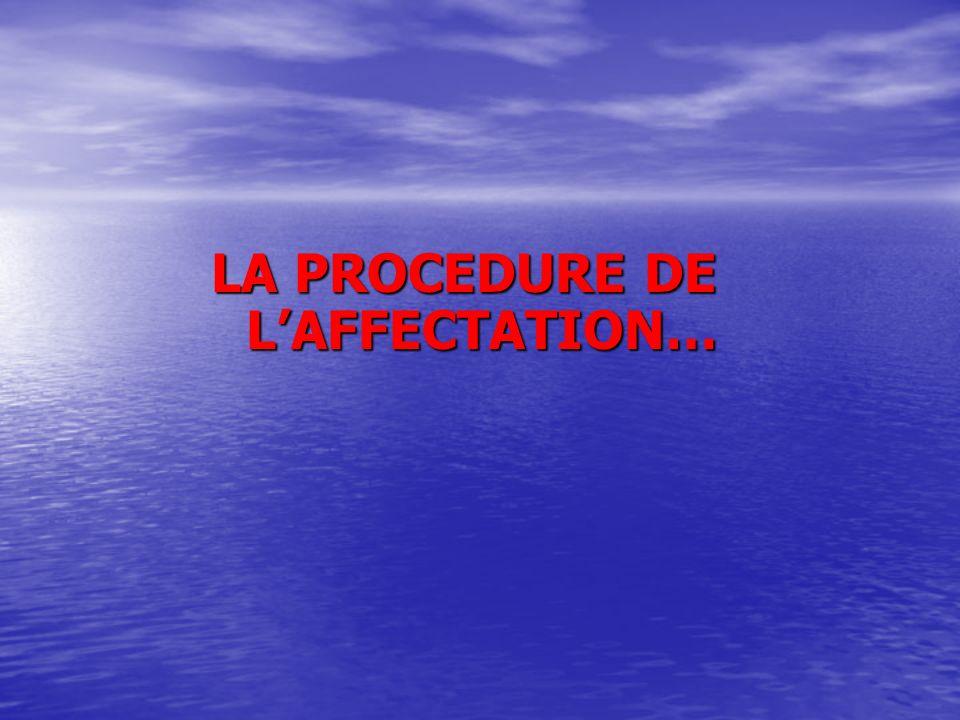 LA PROCEDURE DE LAFFECTATION…