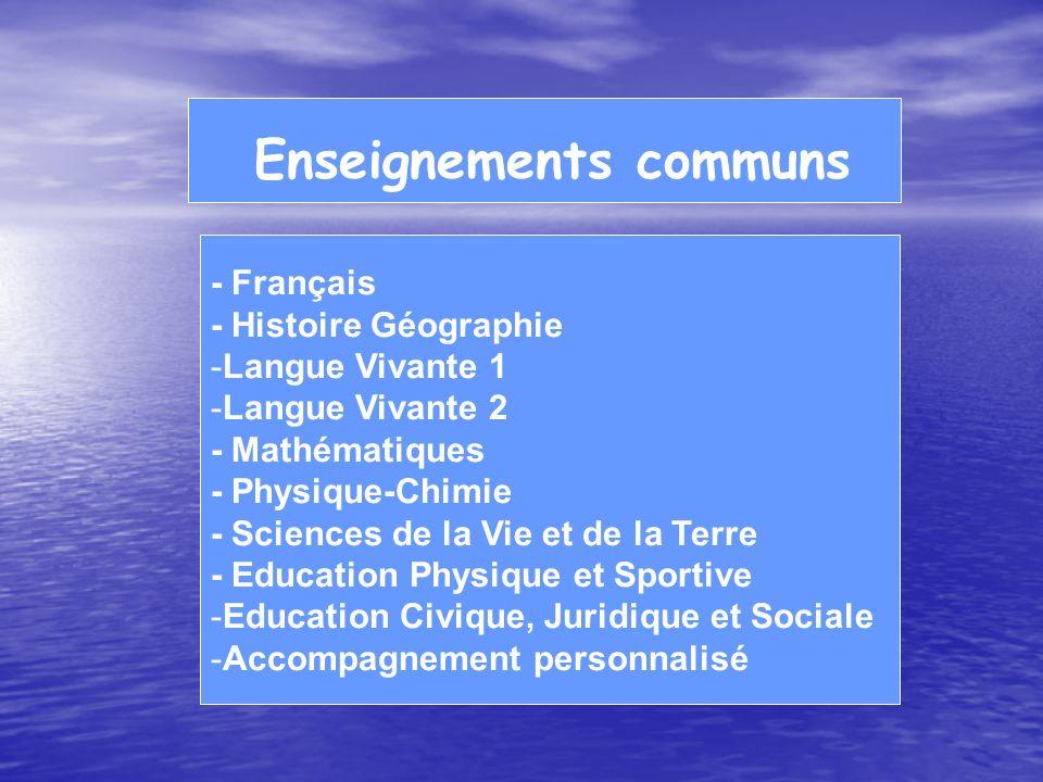 Enseignements communs - Français - Histoire Géographie -Langue Vivante 1 -Langue Vivante 2 - Mathématiques - Physique-Chimie - Sciences de la Vie et d