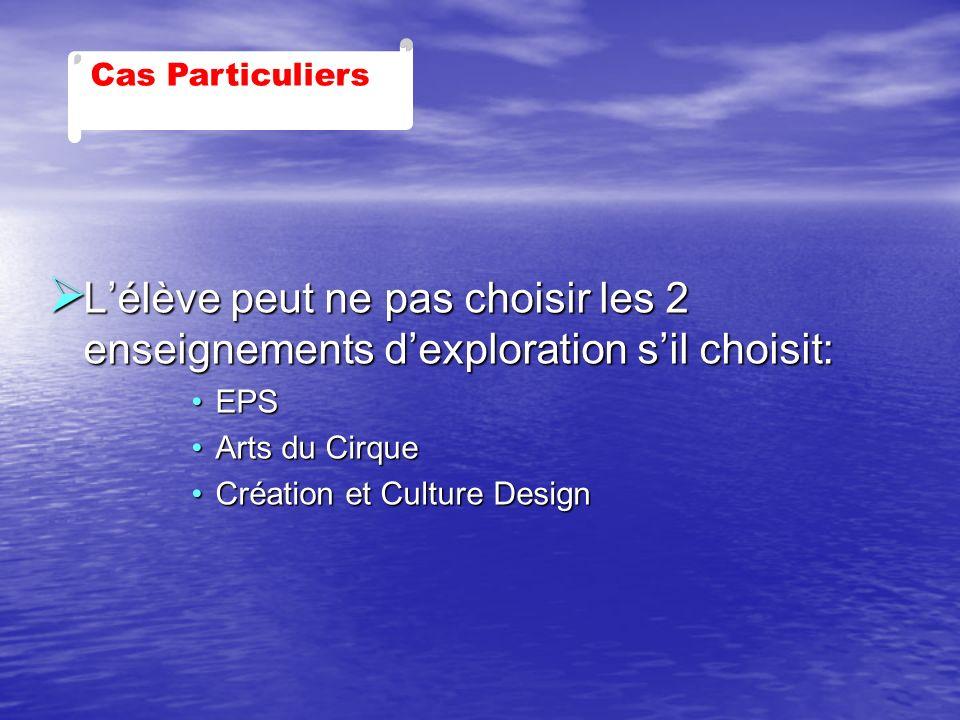 Lélève peut ne pas choisir les 2 enseignements dexploration sil choisit: Lélève peut ne pas choisir les 2 enseignements dexploration sil choisit: EPSE