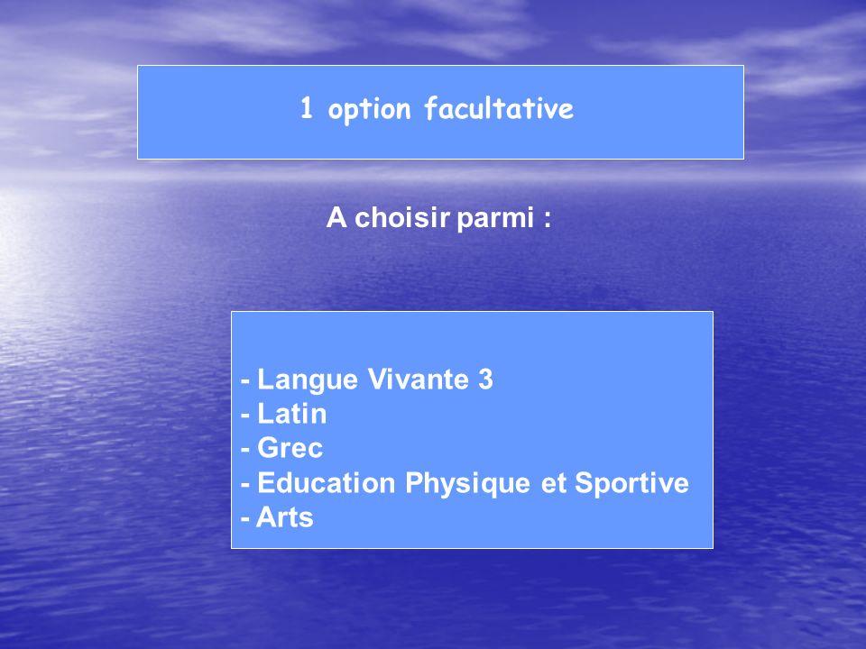 1 option facultative A choisir parmi : - Langue Vivante 3 - Latin - Grec - Education Physique et Sportive - Arts