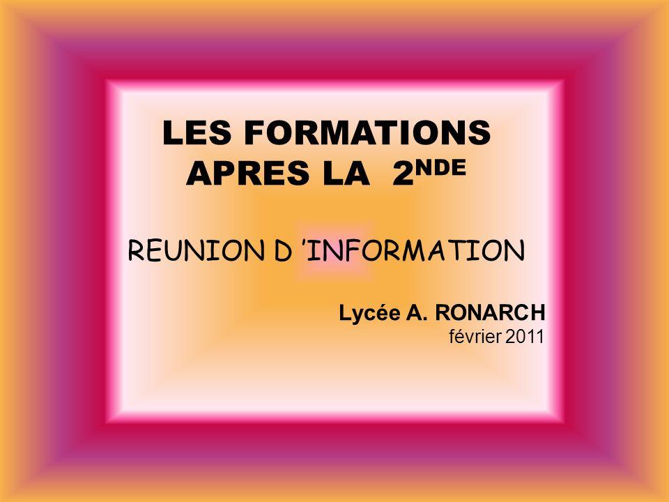 LES FORMATIONS APRES LA 2 NDE REUNION D INFORMATION Lycée A. RONARCH février 2011