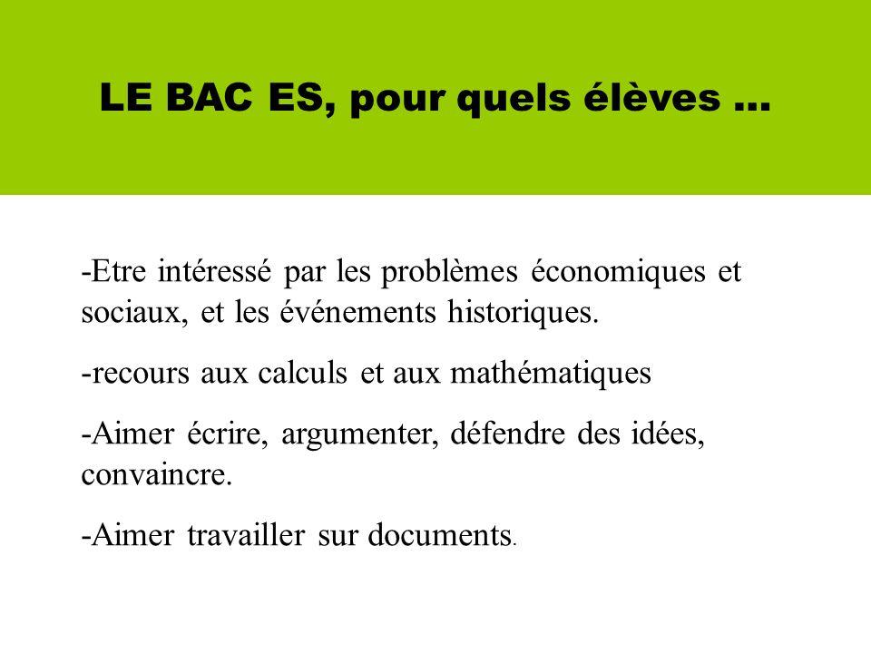 LE BAC ES, pour quels élèves … -Etre intéressé par les problèmes économiques et sociaux, et les événements historiques.