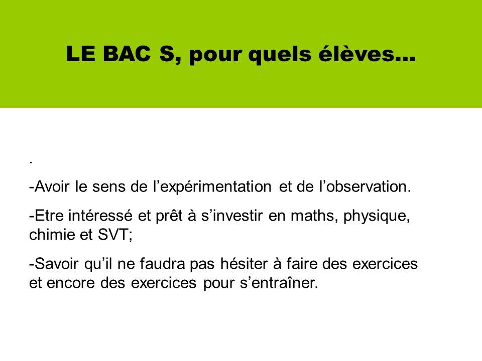 LE BAC S, pour quels élèves….-Avoir le sens de lexpérimentation et de lobservation.