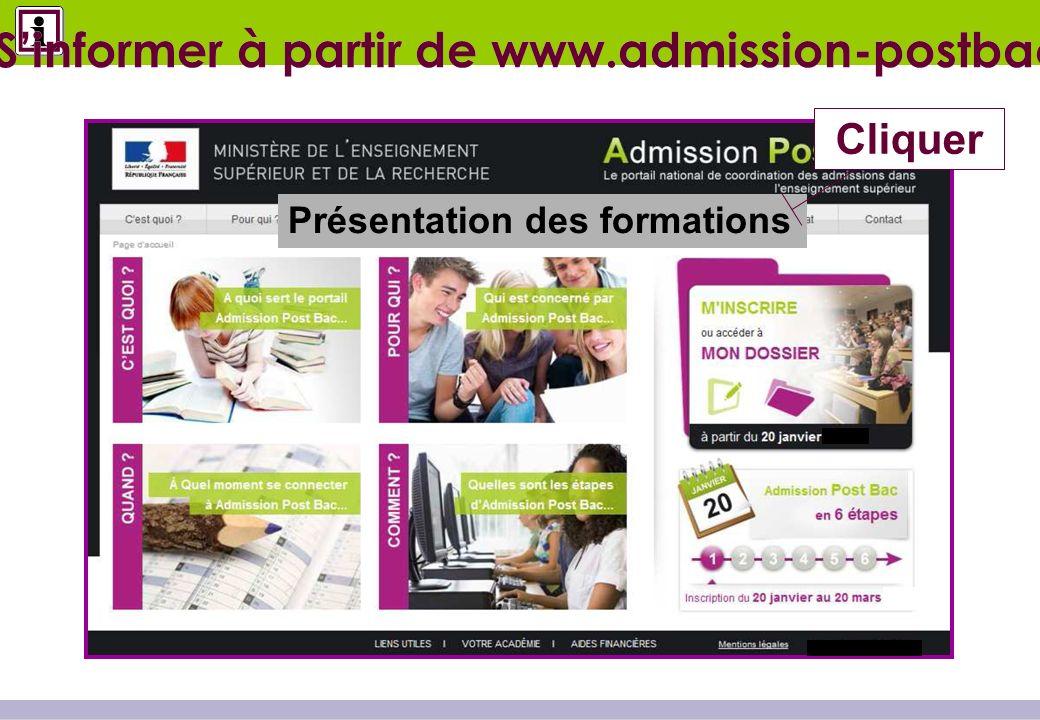 Présentation des formations Cliquer Sinformer à partir de www.admission-postbac.fr