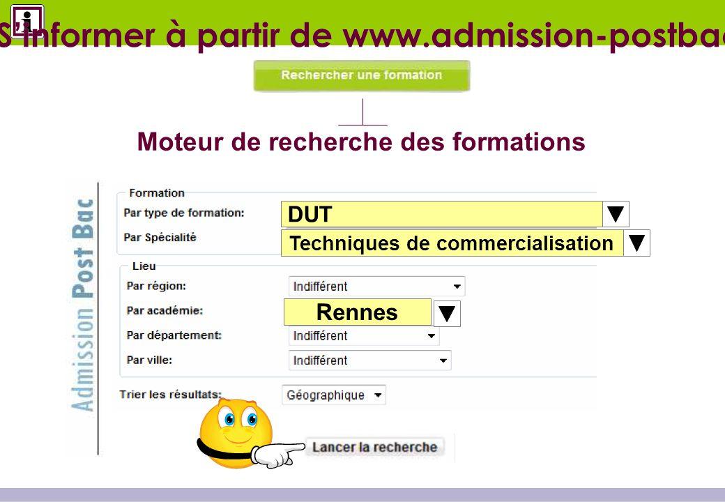 DUT Techniques de commercialisation Poitiers Moteur de recherche des formations Sinformer à partir de www.admission-postbac.fr Rennes