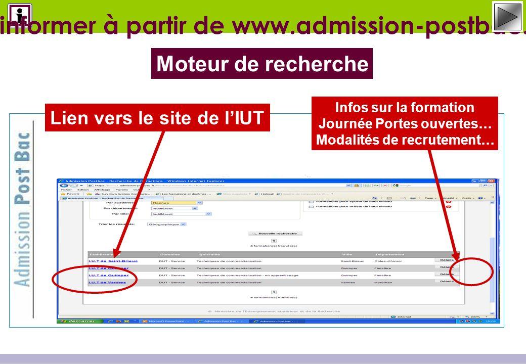 Lien vers le site de lIUT Moteur de recherche Sinformer à partir de www.admission-postbac.fr Infos sur la formation Journée Portes ouvertes… Modalités de recrutement…