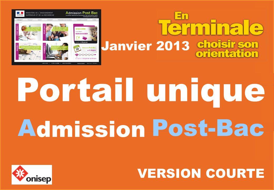 Janvier 2013 A Post-Bac Portail unique dmission VERSION COURTE