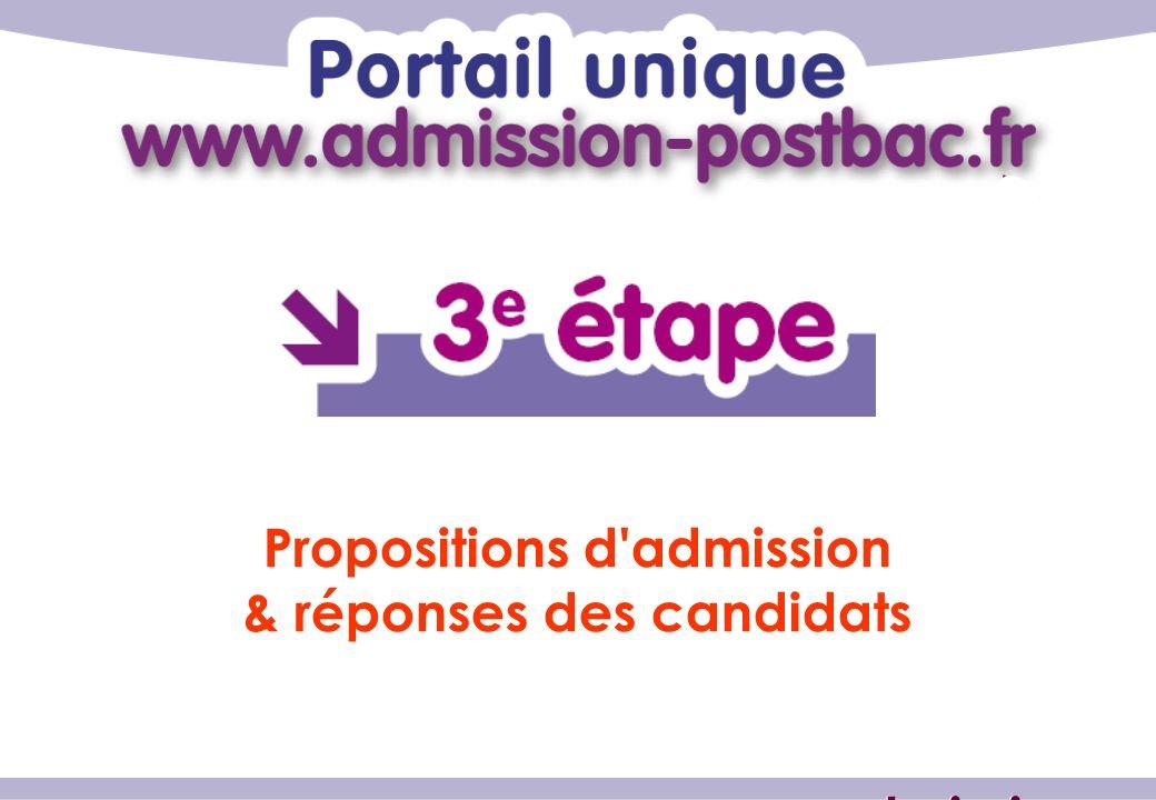 Propositions d admission & réponses des candidats www.admission-postbac.fr