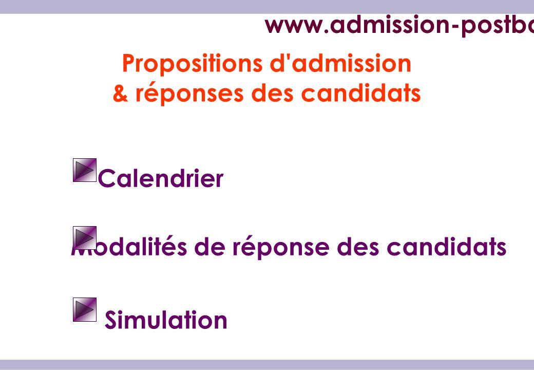 Propositions d admission & réponses des candidats Calendrier Modalités de réponse des candidats Simulation www.admission-postbac.fr