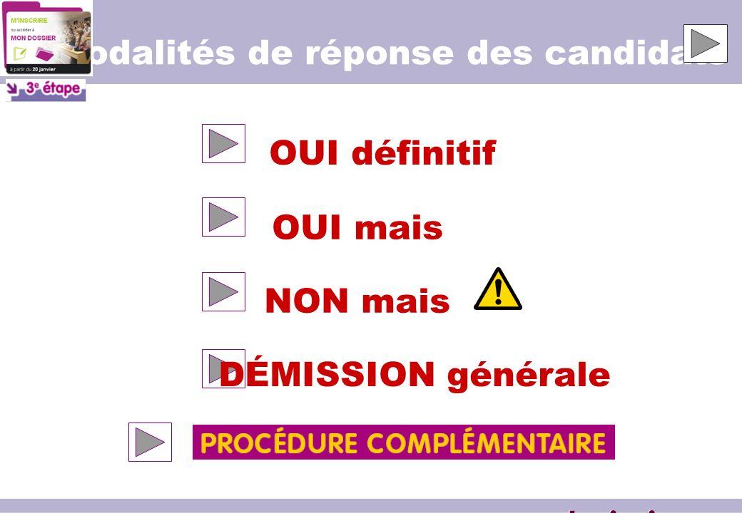 Modalités de réponse des candidats OUI définitif OUI mais NON mais DÉMISSION générale www.admission-postbac.fr