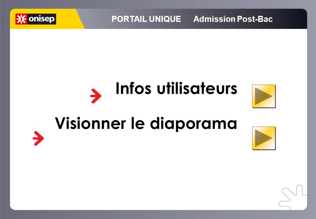 PORTAIL UNIQUE Admission Post-Bac Infos utilisateurs Visionner le diaporama