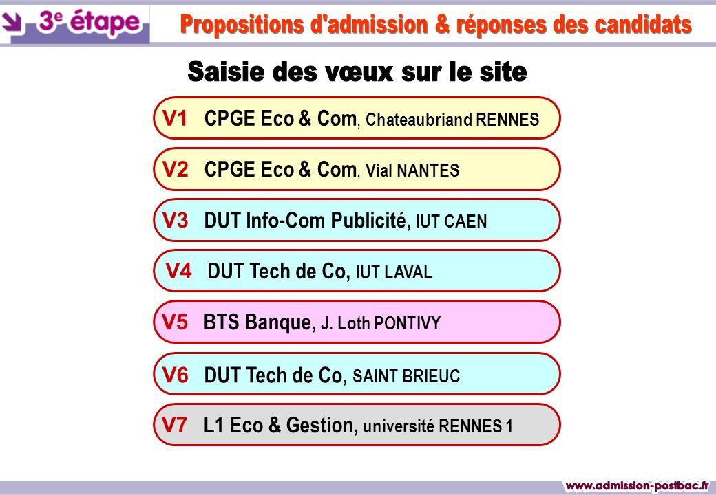 V1 CPGE Eco & Com, Chateaubriand RENNES V3 DUT Info-Com Publicité, IUT CAEN V4 DUT Tech de Co, IUT LAVAL V6 DUT Tech de Co, SAINT BRIEUC V7 L1 Eco & Gestion, université RENNES 1 V2 CPGE Eco & Com, Vial NANTES V5 BTS Banque, J.