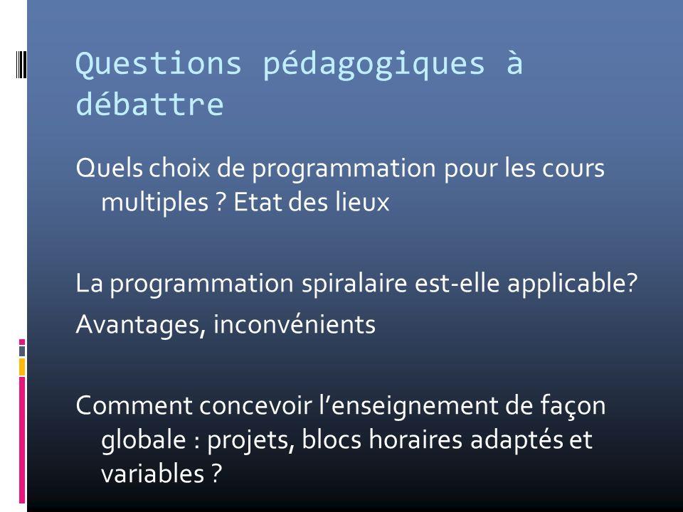 Questions pédagogiques à débattre Quels choix de programmation pour les cours multiples ? Etat des lieux La programmation spiralaire est-elle applicab