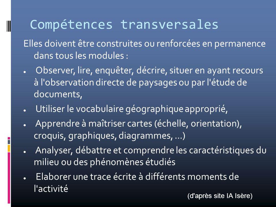 Compétences transversales Elles doivent être construites ou renforcées en permanence dans tous les modules : Observer, lire, enquêter, décrire, situer