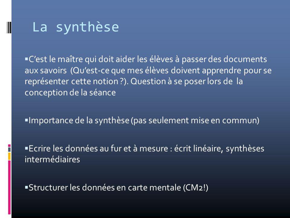 La synthèse Cest le maître qui doit aider les élèves à passer des documents aux savoirs (Quest-ce que mes élèves doivent apprendre pour se représenter