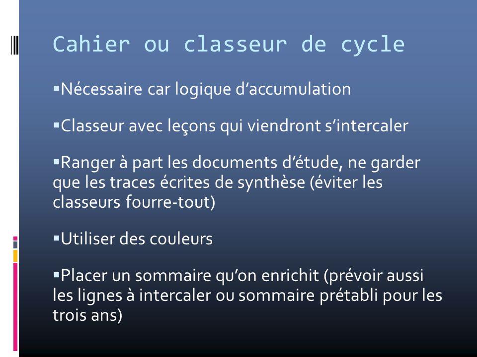 Cahier ou classeur de cycle Nécessaire car logique daccumulation Classeur avec leçons qui viendront sintercaler Ranger à part les documents détude, ne