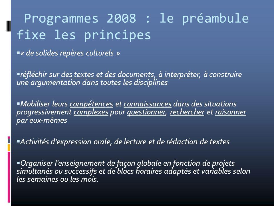 Programmes 2008 : le préambule fixe les principes « de solides repères culturels » réfléchir sur des textes et des documents, à interpréter, à constru