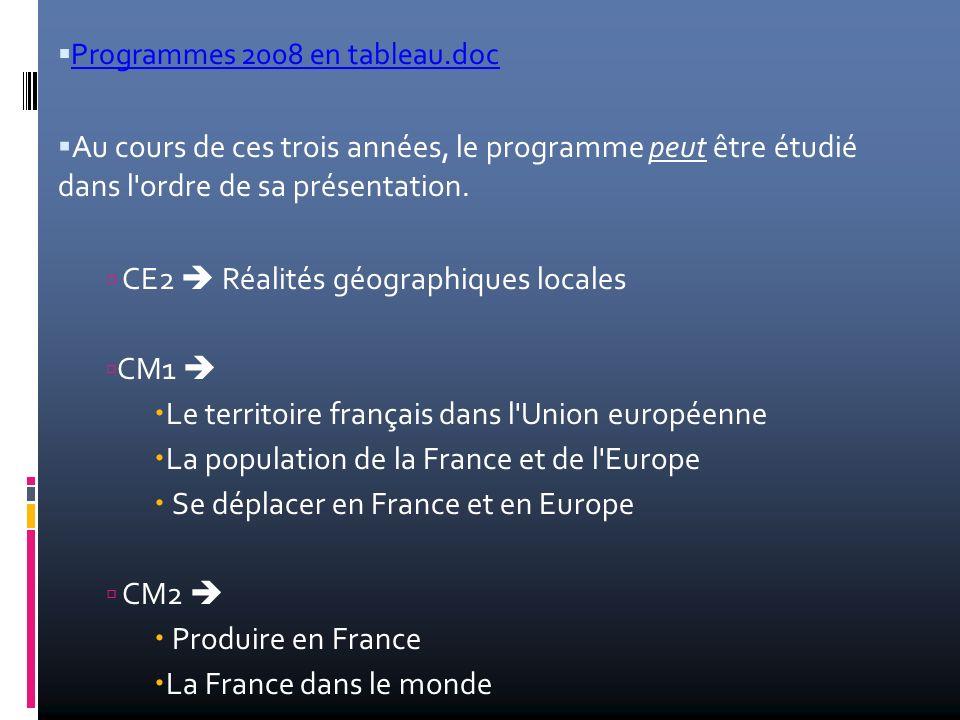 Programmes 2008 en tableau.doc Au cours de ces trois années, le programme peut être étudié dans l'ordre de sa présentation. CE2 Réalités géographiques
