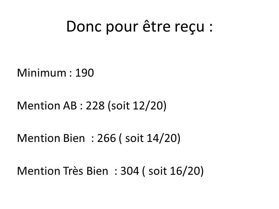 Donc pour être reçu : Minimum : 190 Mention AB : 228 (soit 12/20) Mention Bien : 266 ( soit 14/20) Mention Très Bien : 304 ( soit 16/20)
