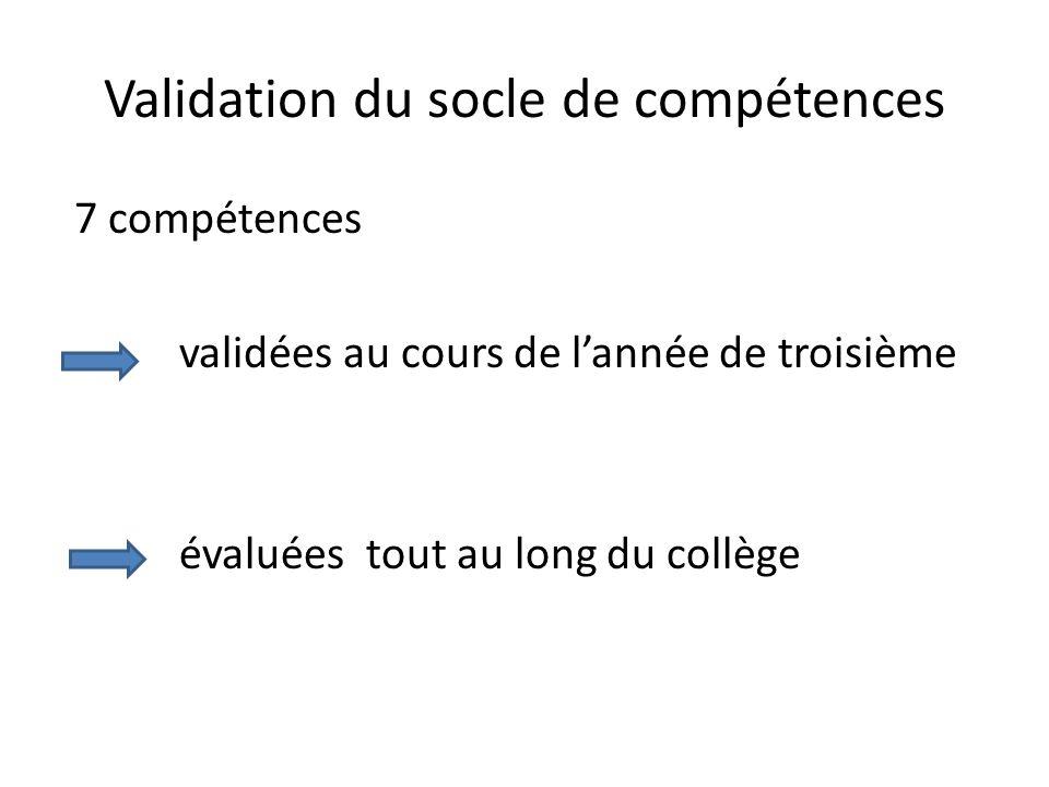 Validation du socle de compétences 7 compétences validées au cours de lannée de troisième évaluées tout au long du collège
