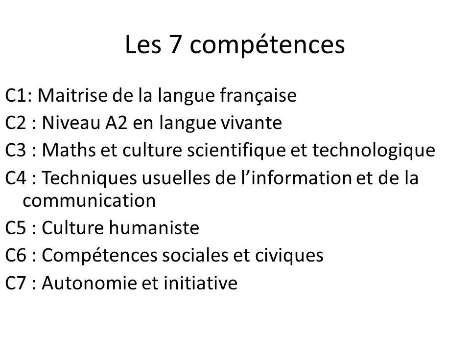 Les 7 compétences C1: Maitrise de la langue française C2 : Niveau A2 en langue vivante C3 : Maths et culture scientifique et technologique C4 : Techni