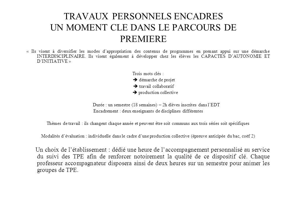 TRAVAUX PERSONNELS ENCADRES UN MOMENT CLE DANS LE PARCOURS DE PREMIERE « Ils visent à diversifier les modes dappropriation des contenus de programmes