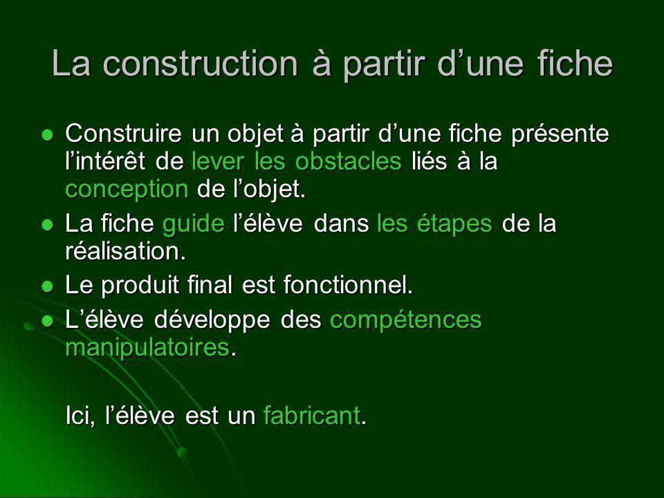 La construction à partir dune fiche Construire un objet à partir dune fiche présente lintérêt de lever les obstacles liés à la conception de lobjet. C