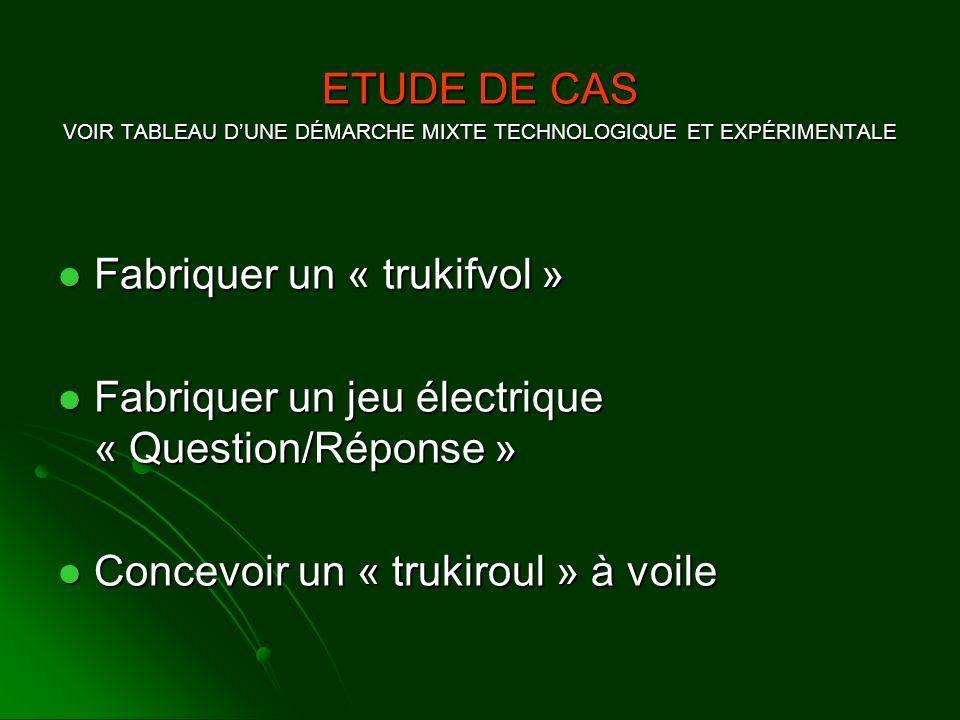 ETUDE DE CAS VOIR TABLEAU DUNE DÉMARCHE MIXTE TECHNOLOGIQUE ET EXPÉRIMENTALE Fabriquer un « trukifvol » Fabriquer un « trukifvol » Fabriquer un jeu él