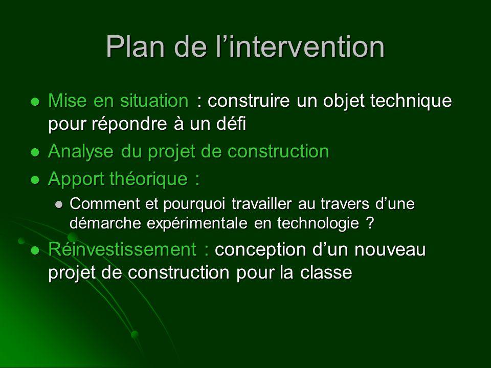 Plan de lintervention Mise en situation : construire un objet technique pour répondre à un défi Mise en situation : construire un objet technique pour