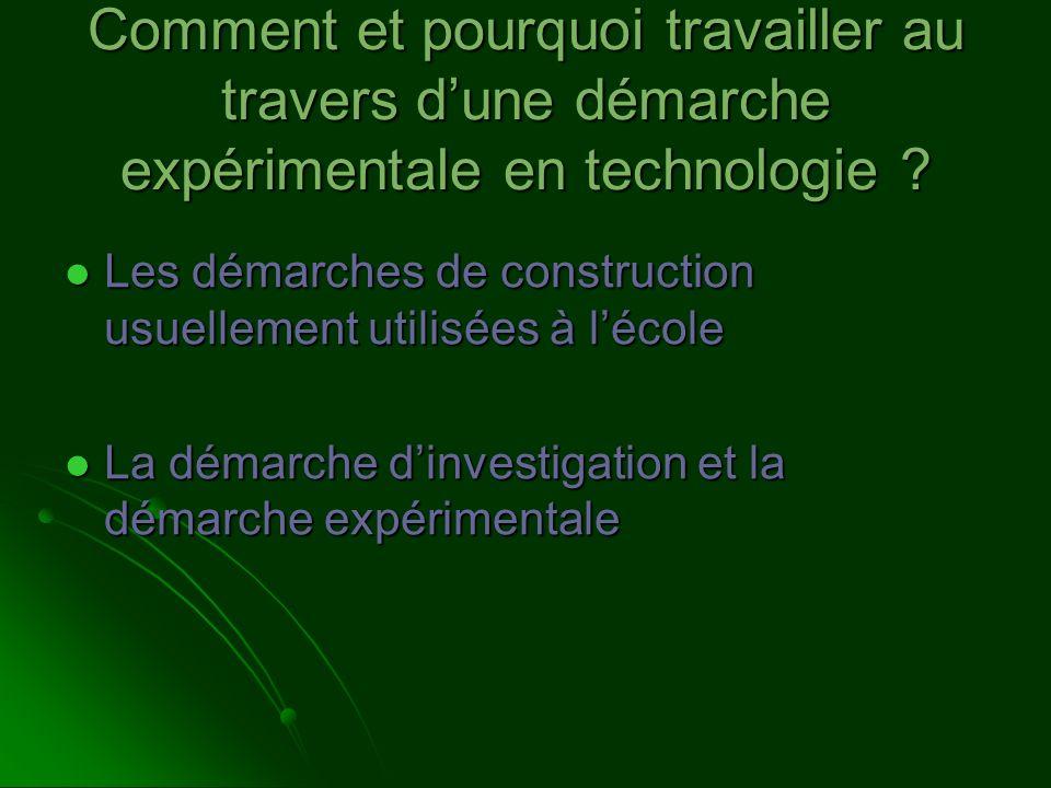 Comment et pourquoi travailler au travers dune démarche expérimentale en technologie ? Les démarches de construction usuellement utilisées à lécole Le