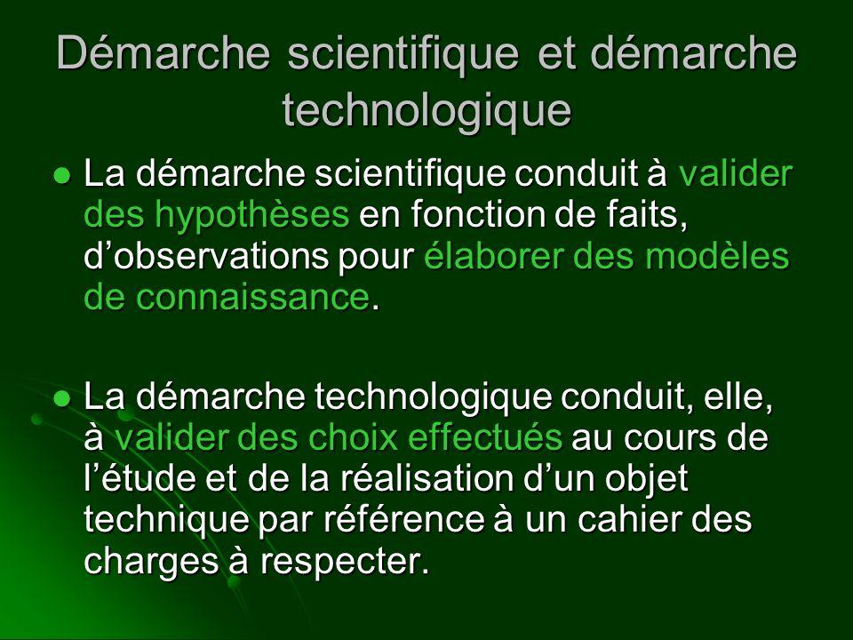 Démarche scientifique et démarche technologique La démarche scientifique conduit à valider des hypothèses en fonction de faits, dobservations pour éla