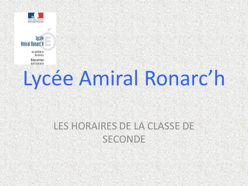 Lycée Amiral Ronarch LES HORAIRES DE LA CLASSE DE SECONDE