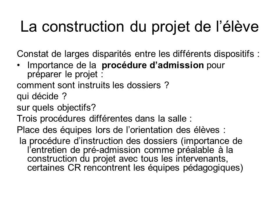 La construction du projet de lélève Constat de larges disparités entre les différents dispositifs : Importance de la procédure dadmission pour préparer le projet : comment sont instruits les dossiers .