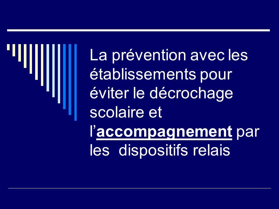 La prévention avec les établissements pour éviter le décrochage scolaire et laccompagnement par les dispositifs relais