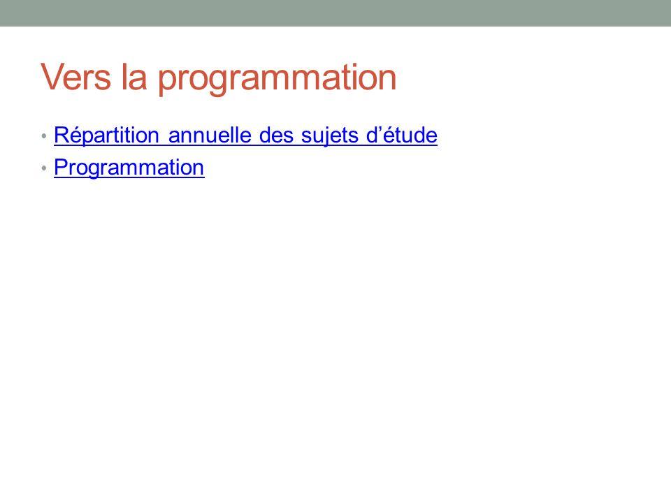Vers la programmation Répartition annuelle des sujets détude Programmation