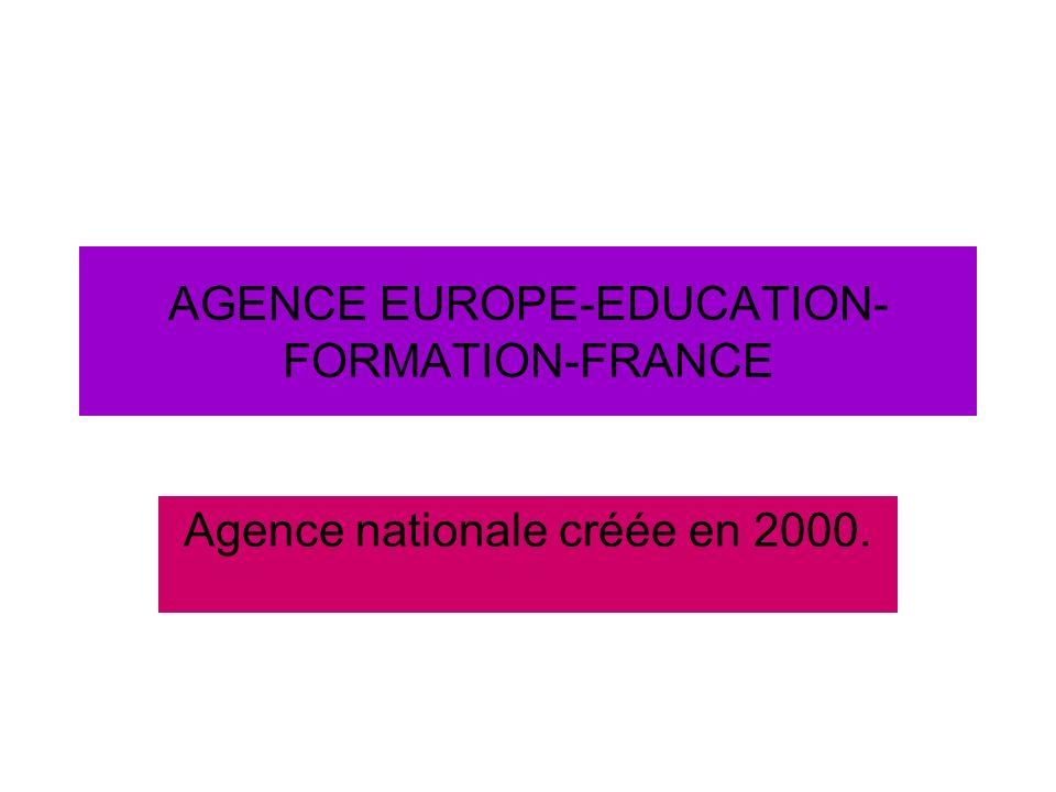 Agence 2 E 2F Groupement dintérêt public (CA, Président de CA, Directeur) Pluri-ministérielle (3 tutelles majeures représentant 55% des parts) -Administrateurs (A= MESR, MEN, MEIE, MAAP, MAE, B4, P4, CIEP, CNOUS, AMUE/CPU) -Décentralisée : Bordeaux.