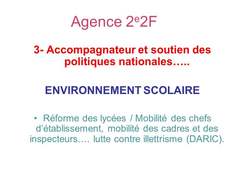 Agence 2 e 2F 3- Accompagnateur et soutien des politiques nationales….. ENVIRONNEMENT SCOLAIRE Réforme des lycées / Mobilité des chefs détablissement,