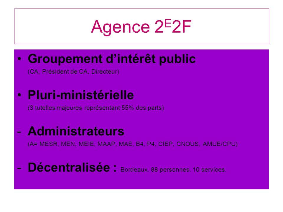 Agence 2 E 2F Groupement dintérêt public (CA, Président de CA, Directeur) Pluri-ministérielle (3 tutelles majeures représentant 55% des parts) -Admini