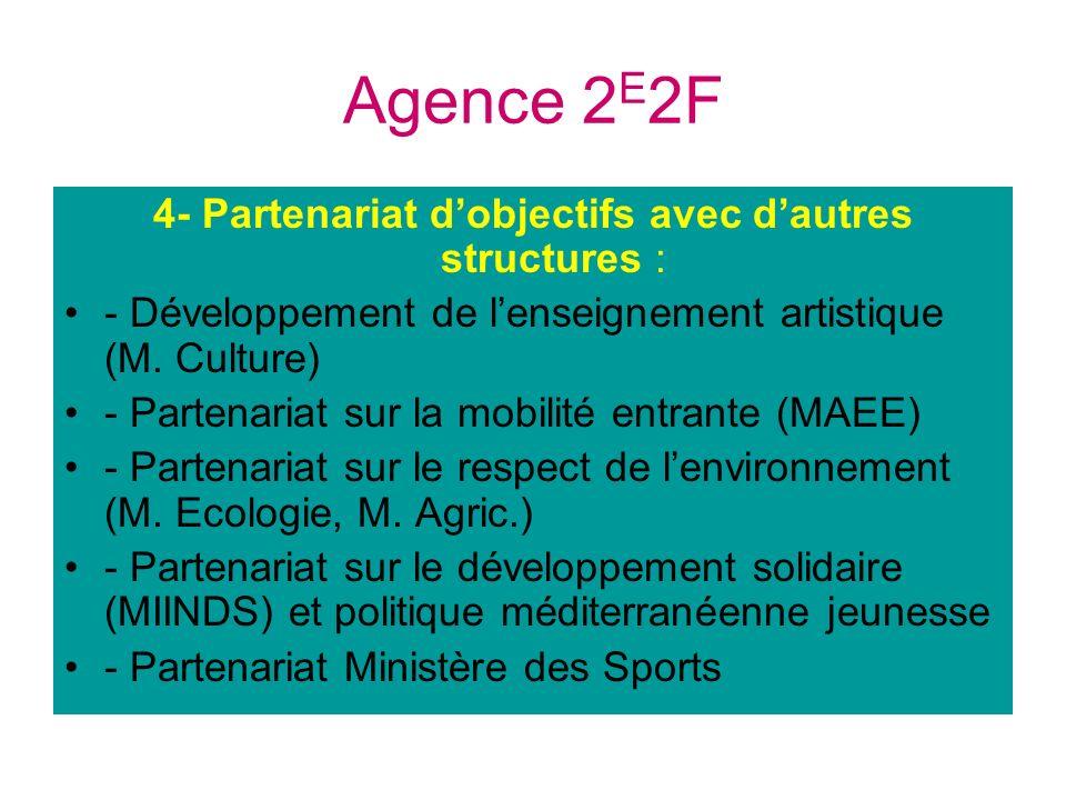 Agence 2 E 2F 4- Partenariat dobjectifs avec dautres structures : - Développement de lenseignement artistique (M. Culture) - Partenariat sur la mobili