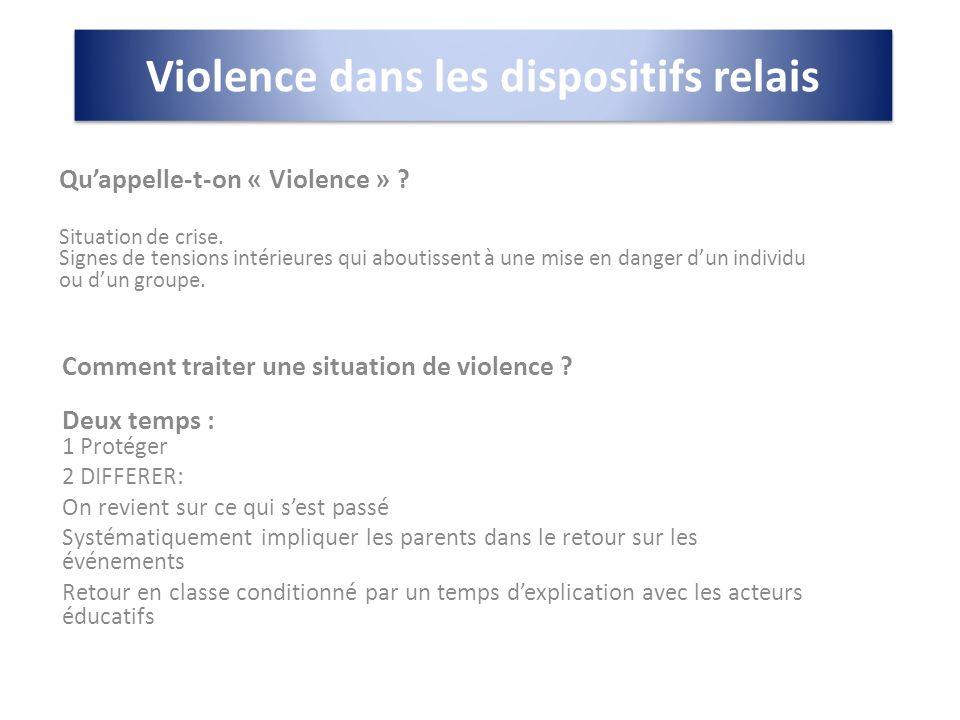Violence dans les dispositifs relais Importance de la configuration des locaux et du travail en binôme.